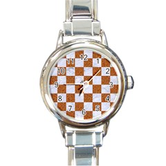 Square1 White Marble & Rusted Metal Round Italian Charm Watch by trendistuff