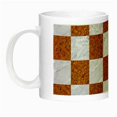 Square1 White Marble & Rusted Metal Night Luminous Mugs by trendistuff