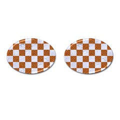 Square1 White Marble & Rusted Metal Cufflinks (oval) by trendistuff