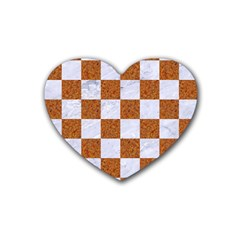 Square1 White Marble & Rusted Metal Heart Coaster (4 Pack)  by trendistuff