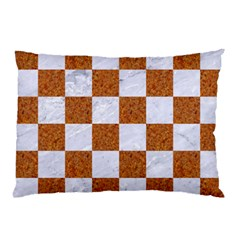 Square1 White Marble & Rusted Metal Pillow Case by trendistuff