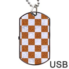 Square1 White Marble & Rusted Metal Dog Tag Usb Flash (one Side) by trendistuff