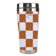 Square1 White Marble & Rusted Metal Stainless Steel Travel Tumblers by trendistuff