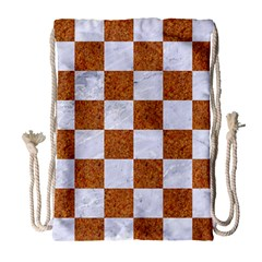 Square1 White Marble & Rusted Metal Drawstring Bag (large) by trendistuff