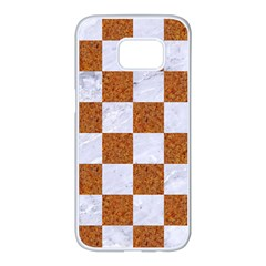 Square1 White Marble & Rusted Metal Samsung Galaxy S7 Edge White Seamless Case by trendistuff