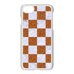 Square1 White Marble & Rusted Metal Apple Iphone 8 Seamless Case (white) by trendistuff