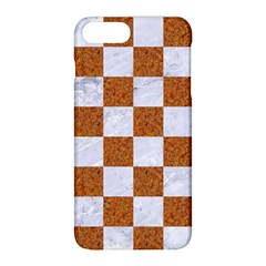 Square1 White Marble & Rusted Metal Apple Iphone 8 Plus Hardshell Case by trendistuff