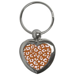 Skin5 White Marble & Rusted Metal (r) Key Chains (heart)  by trendistuff