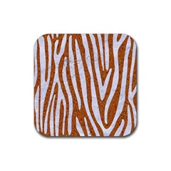 Skin4 White Marble & Rusted Metal (r) Rubber Coaster (square)  by trendistuff
