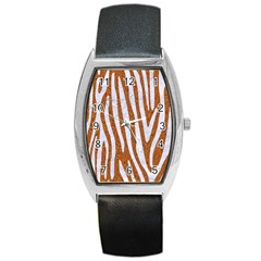 Skin4 White Marble & Rusted Metal (r) Barrel Style Metal Watch by trendistuff