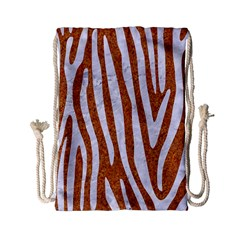 Skin4 White Marble & Rusted Metal (r) Drawstring Bag (small) by trendistuff