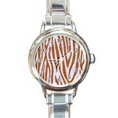 Skin4 White Marble & Rusted Metal Round Italian Charm Watch by trendistuff