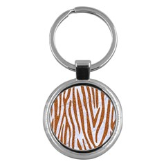 Skin4 White Marble & Rusted Metal Key Chains (round)  by trendistuff