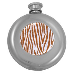 Skin4 White Marble & Rusted Metal Round Hip Flask (5 Oz) by trendistuff