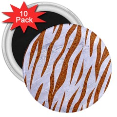Skin3 White Marble & Rusted Metal (r) 3  Magnets (10 Pack)  by trendistuff