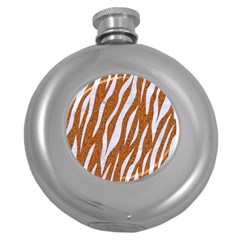 Skin3 White Marble & Rusted Metal Round Hip Flask (5 Oz) by trendistuff