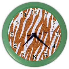 Skin3 White Marble & Rusted Metal Color Wall Clocks by trendistuff