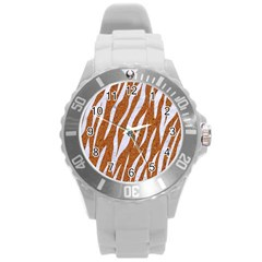 Skin3 White Marble & Rusted Metal Round Plastic Sport Watch (l) by trendistuff