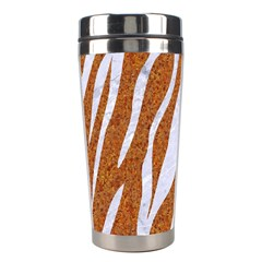 Skin3 White Marble & Rusted Metal Stainless Steel Travel Tumblers by trendistuff