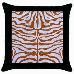 Skin2 White Marble & Rusted Metal (r) Throw Pillow Case (black) by trendistuff