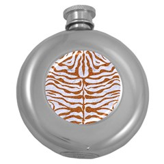 Skin2 White Marble & Rusted Metal (r) Round Hip Flask (5 Oz) by trendistuff