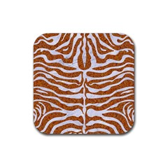 Skin2 White Marble & Rusted Metal Rubber Coaster (square)  by trendistuff