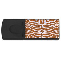 Skin2 White Marble & Rusted Metal Rectangular Usb Flash Drive by trendistuff