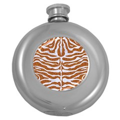 Skin2 White Marble & Rusted Metal Round Hip Flask (5 Oz) by trendistuff