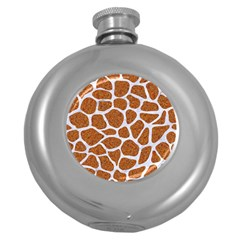 Skin1 White Marble & Rusted Metal (r) Round Hip Flask (5 Oz) by trendistuff