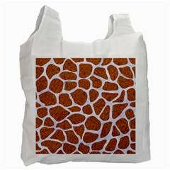 Skin1 White Marble & Rusted Metal (r) Recycle Bag (one Side) by trendistuff