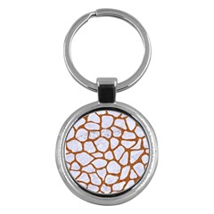 Skin1 White Marble & Rusted Metal Key Chains (round)  by trendistuff