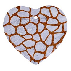 Skin1 White Marble & Rusted Metal Heart Ornament (two Sides) by trendistuff