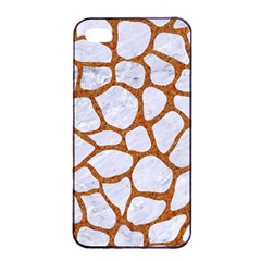 Skin1 White Marble & Rusted Metal Apple Iphone 4/4s Seamless Case (black) by trendistuff