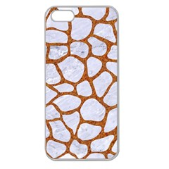 Skin1 White Marble & Rusted Metal Apple Seamless Iphone 5 Case (clear) by trendistuff
