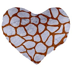 Skin1 White Marble & Rusted Metal Large 19  Premium Heart Shape Cushions by trendistuff