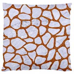 Skin1 White Marble & Rusted Metal Large Flano Cushion Case (two Sides) by trendistuff