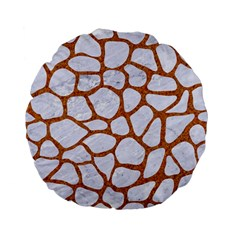 Skin1 White Marble & Rusted Metal Standard 15  Premium Flano Round Cushions by trendistuff