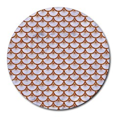 Scales3 White Marble & Rusted Metal (r) Round Mousepads by trendistuff