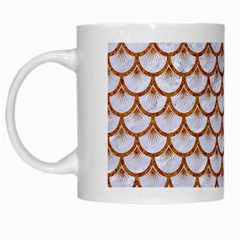 Scales3 White Marble & Rusted Metal (r) White Mugs by trendistuff