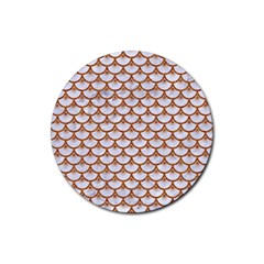 Scales3 White Marble & Rusted Metal (r) Rubber Coaster (round)  by trendistuff