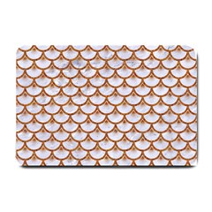Scales3 White Marble & Rusted Metal (r) Small Doormat  by trendistuff