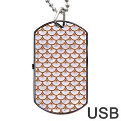 Scales3 White Marble & Rusted Metal (r) Dog Tag Usb Flash (two Sides) by trendistuff