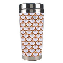 Scales3 White Marble & Rusted Metal (r) Stainless Steel Travel Tumblers by trendistuff