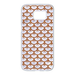 Scales3 White Marble & Rusted Metal (r) Samsung Galaxy S7 Edge White Seamless Case by trendistuff