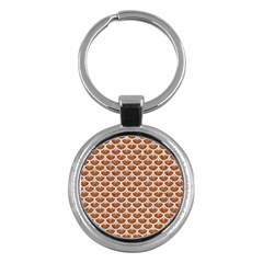 Scales3 White Marble & Rusted Metal Key Chains (round)  by trendistuff