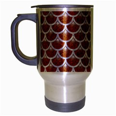 Scales3 White Marble & Rusted Metal Travel Mug (silver Gray) by trendistuff