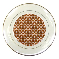 Scales3 White Marble & Rusted Metal Porcelain Plates by trendistuff