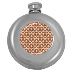 Scales3 White Marble & Rusted Metal Round Hip Flask (5 Oz) by trendistuff