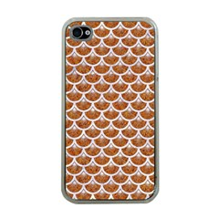 Scales3 White Marble & Rusted Metal Apple Iphone 4 Case (clear) by trendistuff