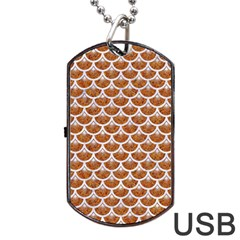 Scales3 White Marble & Rusted Metal Dog Tag Usb Flash (one Side) by trendistuff